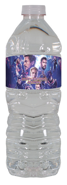 Avengers Endgame water bottle label