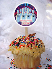 Bowling Personalized Cupcake Toppers