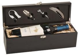 Lancer Wine Box with Tools, Black (4126-99)