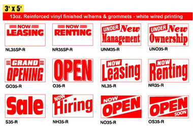 3' x 5' – Banners Pre-Designed with common business slogans. White with Red Print