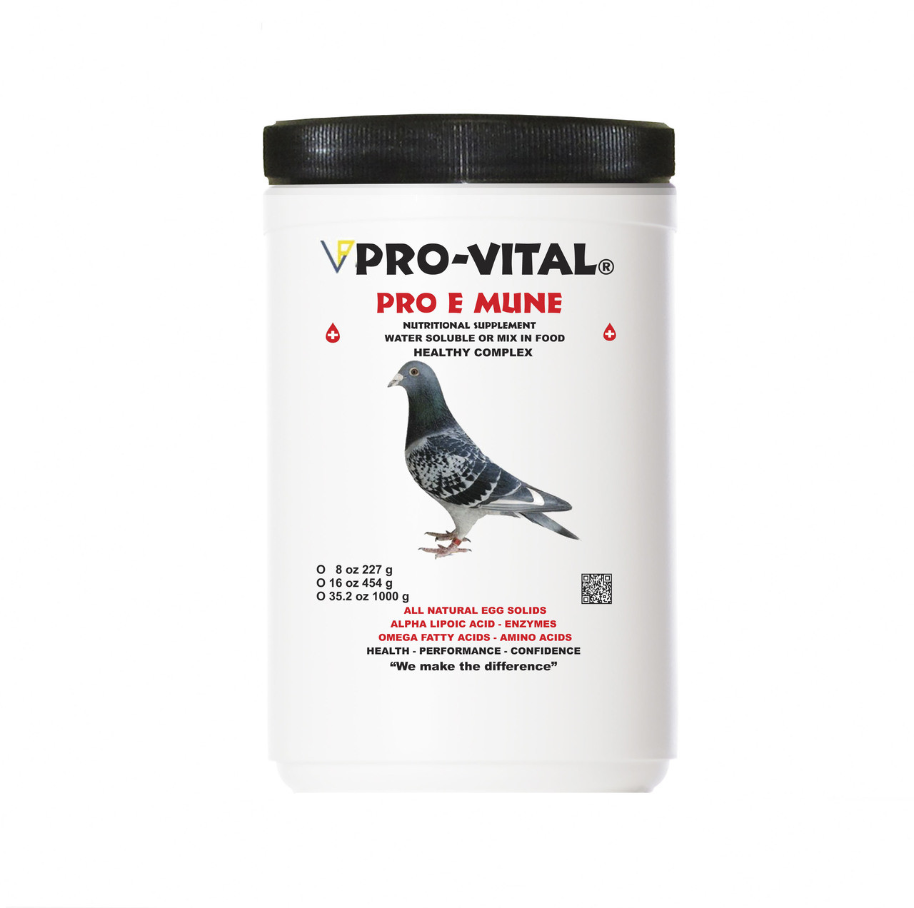 PRO-VITAL® PRO-E-MUNE PIGEON is a feed supplement containing high valuable,  natural egg immunoglobulins (IgY) used for young pigeons and race pigeons