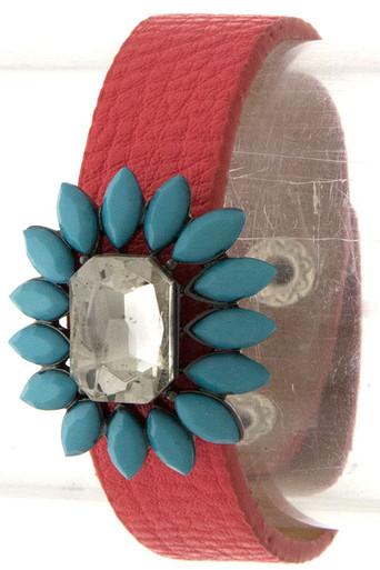Emerald Cut Jewel Bracelet in Coral