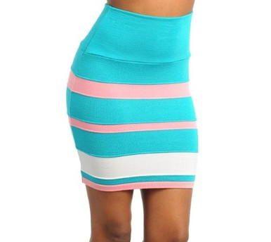 Banded Mini in Turquoise/Pink