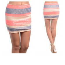 Striped Sequin Mini Skirt in Coral, Blue, Pink