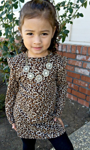 Childrens Long Sleeve Leopard Dress
