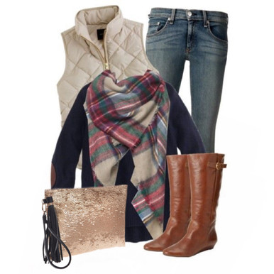 Fall Outfit Inspiration:  Plaid Oversized Tartan Scarf with vest, skinnies, riding boots and sequin clutch.