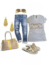 Summer Outfit with Tee, Boyfriend Jeans, Sunglasses, Flat Sandals, and Accessories