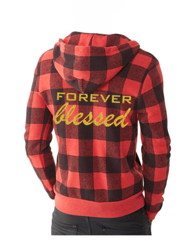 Buffalo Plaid Zip Up Sweatshirt.  Women's Christian FOREVER Blessed Religious Sweatshirt, Blessed Clothing,  Blessed Tees, Christian TShirts, Blessed Shirt