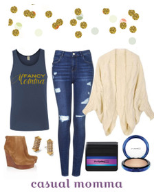 Fancy Momma Tank, Chunky Sweater, Distressed Jeans, Boots, Stud Earrings Outfit Idea