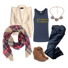Fancy Momma Tank, Blazer, Blanket Scarf, Statement Necklace #OOTD.  I'm So Fancy Momma, Mom of Birthday Girl Tee, Stylish Mother Tshirt, Trendy  Maternity Top, Cool Mother, I love Mom, Super Mom, Mom To Be