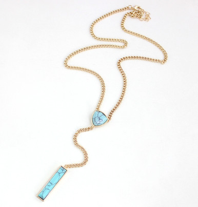 Jizelle Turquoise Y Layered Chain Necklace