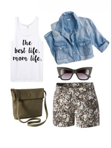 Life of a Mom.  Mom Style.  Casual.  Shorts. Chambray Top.  Tank.  Sunglasses.