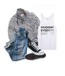 Casual Outfit:  Muggin' Every Day Tank, Converse, Jeans and Striped Hoodie.