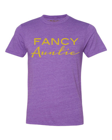 Exclusive Fancy Auntie Crew Tee in Purple- Triblend T-Shirt.