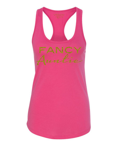 Exclusive Fancy Auntie Racerback Tank in Raspberry