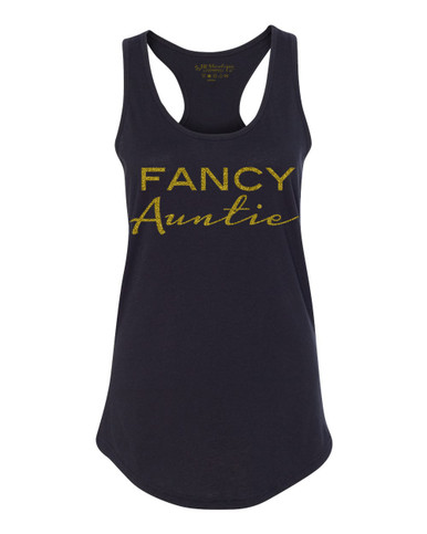 Exclusive Fancy Auntie Racerback Tank in Black