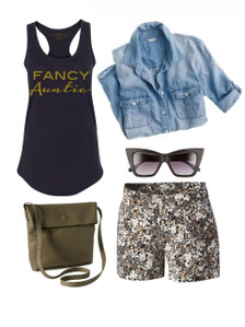 Fancy Auntie Racerback Beach Outfit.  Vacation Outfit.  Summer Outfit Inspiration.