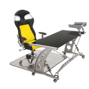PitStop Furniture - Formula One Black Desk Set - Shown here with the Yellow on Black F1 Chair (includes floor mat)