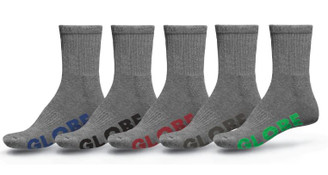 Globe Large Stealth Crew Sock 5 Pack - Grey