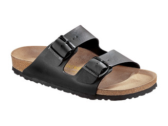 Birkenstock Arizona Smooth Leather (Classic Footbed - Suede Lined) - Black