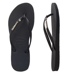 Havianas Slim Metal Logo Crystal Thongs - Black/Black