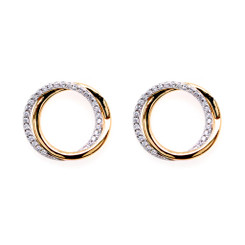 Sybella Gold Two Tone Cubic Zirconia Circle Earrings