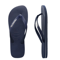 Havaianas Kids Rubber Logo Thongs - Navy Blue/Navy Blue/White