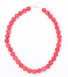 Red Coral Small Coin Necklace
