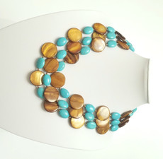 Triple Mother of Pearl and Turquoise Necklace