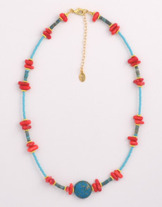Red Coral and Turquiose Necklace