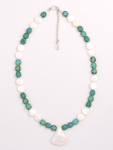 White Mother of Pearl and Turquoise Czech Glass Small Coin with Mother of Pearl Pendant Necklace