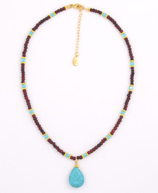 Brown Wood Beads and Turquoise Czech Glass with Turquoise Pendant Necklace