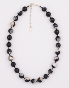 Round Faceted Black Agate Necklace