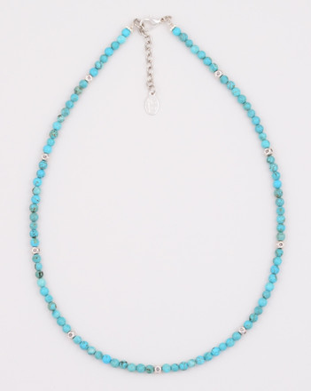 Small Round Turquoise and Sterling Silver Bead Necklace
