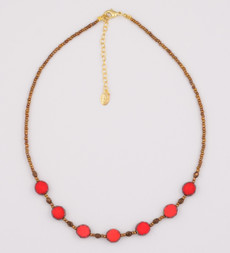 Red Czech Glass and Brown Bead Half Necklace