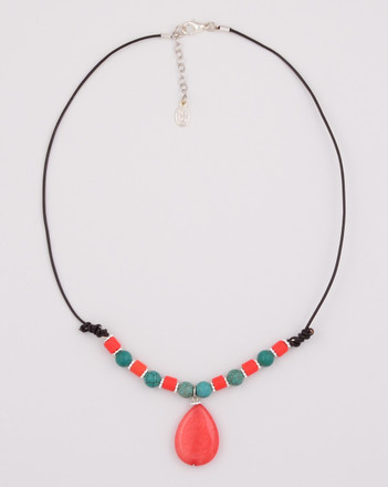 Turquoise and Coral with Pink Agate Drop Half Necklace