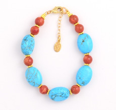 Oval Turquoise and Round Coral Bracelet