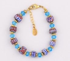 African Beads and Blue Czech Glass Bracelet