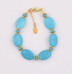 Oval Turquoise and Blue Czech Glass Bracelet