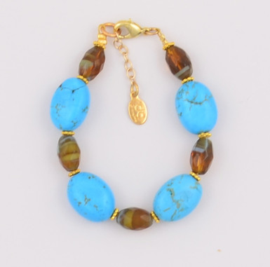 Oval Turquoise and Brown Czech Glass Bracelet
