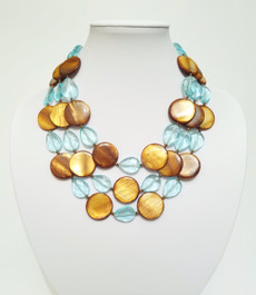 Triple Mother of Pearl and Aqua Quartz Necklace