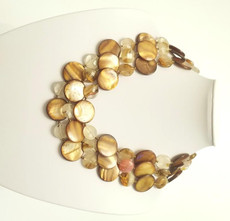 Triple Mother of Pearl and Brazilian Quartz Necklace