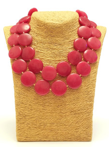 Double Red Agate Coin Necklace