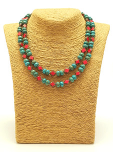 Double Turquoise & Czech Red Necklace
