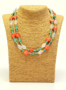 Double Opal-Coral-Turquoise Necklace