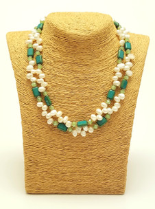 Double Fresh Water Pearl & Czech Turquoise Necklace