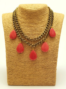 Double Red Agate & Brass Chain Necklace