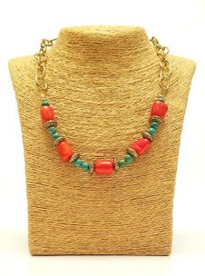 Turquoise & Coral Gold Chain Necklace