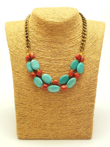 Double Turquoise & Coral Brass Chain Necklace