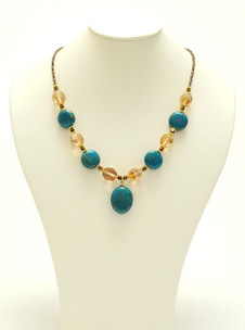 Turquoise & Quartz Pendant Necklace